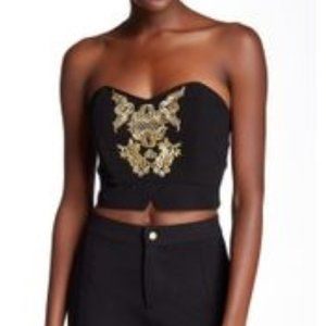 NWT Lovers + Friends Bustier Gold Embroidery